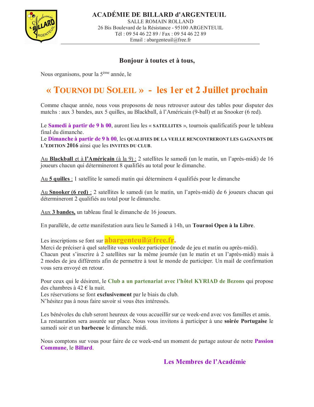 TOURNOI DU SOLEIL à Argenteuil les 1er et 2 Juillet  2017